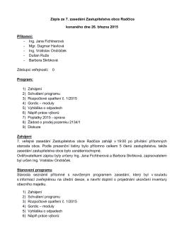 Zápis z veřejného zasedání zastupitelstva ze dne 26. 3