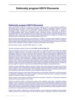 Doktorský program 6201V Ekonomie