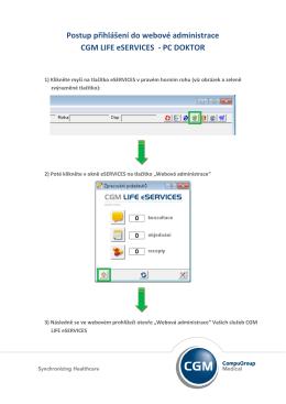 Postup přihlášení do webové administrace CGM LIFE eSERVICES