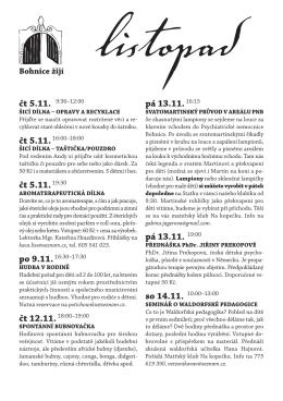 čt 5.11. 9:30–12:00 čt 5.11.19:30 pá 13.11. 19:00