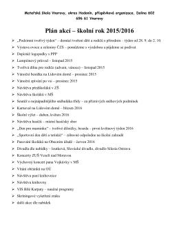 Plán akcí – školní rok 2015/2016