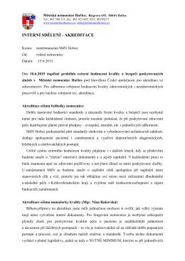 akreditace - Městská nemocnice Hořice