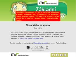 Slovní úlohy na výroky - Web projektu Matematika s radostí