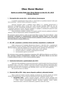 Zpráva z rady obce č. 3/2015
