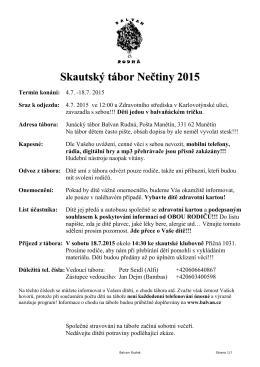 Informace o táboře 2015 – ZDE