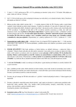 Organizace ŠD na začátku šk. r. 2015/16