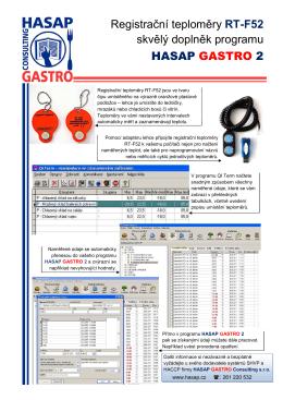Registrační teploměry RT-F52 skvělý doplněk programu HASAP
