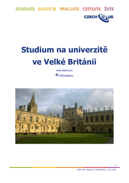 Studium na univerzitě ve Velké Británii