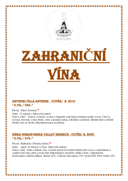 Zahraniční vína restaurace U Piráta
