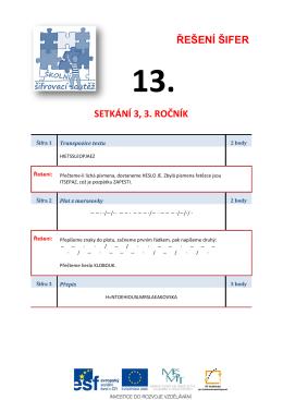 ŘEŠENÍ ŠIFER SETKÁNÍ 3, 3. ROČNÍK