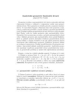 Teorie: Analytická geometrie lineárních útvarů