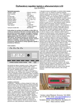 Čtyřkanálový regulátor teploty s alfanumerickým LCD