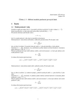 Úloha c. 5 - Merení modulu pružnosti pevných látek 1 Teorie
