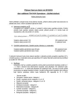 Přijímací řízení pro školní rok 2015/2016 obor
