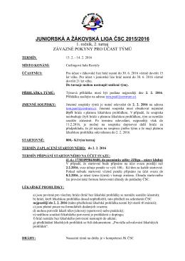 závazné pokyny pro účast týmů v 2.turnaji 2015/16