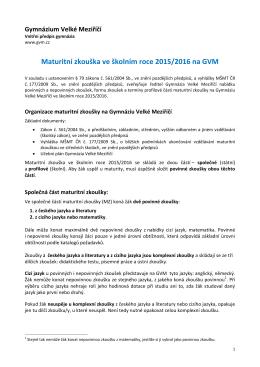 Maturitní zkouška ve školním roce 2015/2016 na GVM