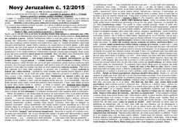 11. císlo zpravodaje NOVÝ JERUZALÉM 2015