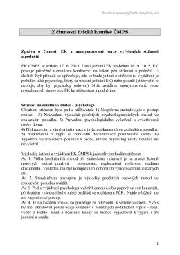Z činnosti Etické komise ČMPS