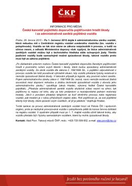 29.6.2015 - Česká kancelář pojistitelů doporučila pojišťovnám hradit