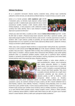 Tisková Zpráva – Dětská Strážnice - Mezinárodní folklorní festival