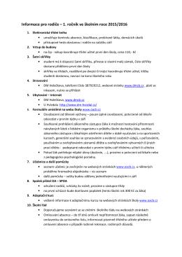 Informace rodičů pro 1. ročník 2015/2016