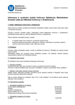 Informace k využívání služeb knihoven Städtische Bibliotheken