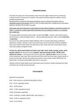 Organizační pokyny Harmonogram: - ABC BRANÍK