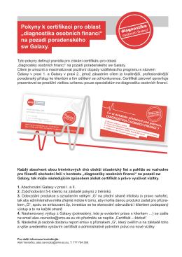 """Pokyny k certifikaci pro oblast """"diagnostika osobních financí"""" na"""