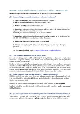 Informace o přijímacím řízení na SŠ a konzervatoře