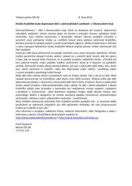 Tisková zpráva ZZS OK 8. října 2016 Hračka Kryštůfek bude