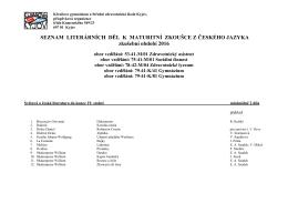 Školní seznam literárních děl - Klvaňovo gymnázium a Střední