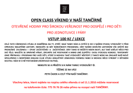 Open Class víkend od 23. 1. do 24. 1. 2016!