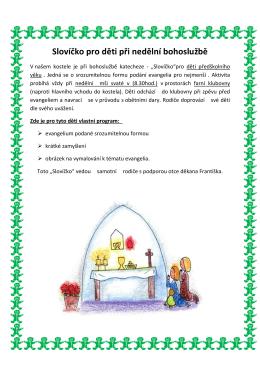 Slovíčko pro děti při nedělní bohoslužbě