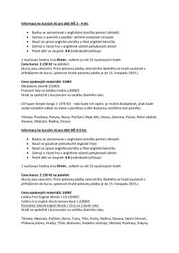 Informace ke kurzům AJ pro děti MŠ