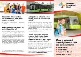 Slevy a výhodné časové jízdenky DÚK pro děti a mládež