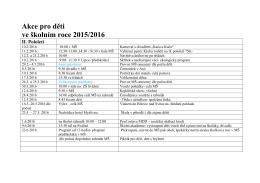 Akce pro děti ve školním roce 2015/2016 I. pololetí