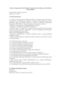 Vnitřní a Organizační řád Střediska volného času Kroužky pro děti