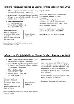 Info pro rodiče, jejichž děti se účastní farního tábora v roce 2015 Info