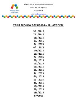 ZÁPIS PRO ROK 2015/2016 – PŘIJATÉ DĚTI: