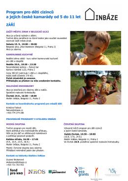 Program pro děti cizinců a jejich české kamarády od 5 do 11 let ZÁŘÍ