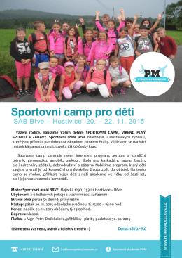 Sportovní camp pro děti - Sportovní akademie P&M