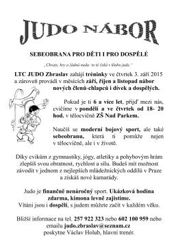 SEBEOBRANA PRO DĚTI I PRO DOSPĚLÉ LTC JUDO Zbraslav