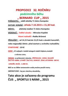 """BERNARD CUP """" 2015 Tato akce je zařazena"""