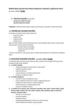 Ředitel školy stanovil tato kritéria hodnocení uchazečů v přijímacím