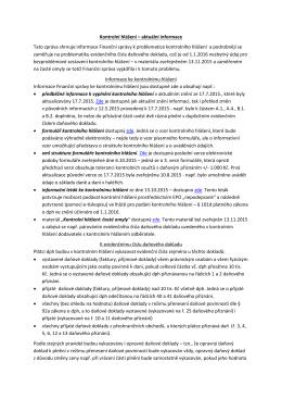 Kontrolní hlášení – aktuální informace Tato zpráva shrnuje