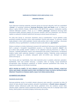 Informace o Dobrovolné záruce výrobce