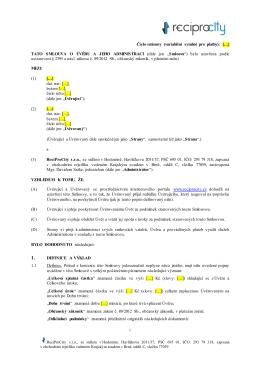 Číslo smlouvy (variabilní symbol pro platby): […] TATO SMLOUVA O