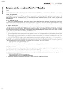 Omezená záruka společnosti TomTom Telematics