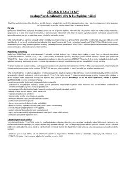 ZÁRUKA TEFAL/T-FAL* na doplňky & náhradní díly & kuchyňské