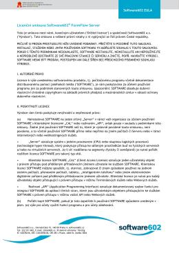 Licenční smlouva Software602® FormFlow Server